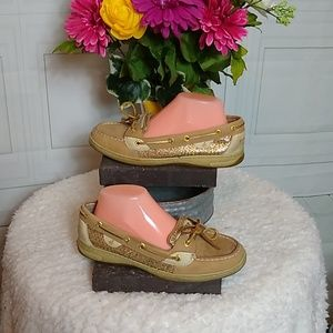 Sperry Topsider Tan & Gold Glitter Size 8.5M